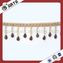 Light Brown Polyster Beaded Fringe For Curtain Decorative Link Thread Beads
