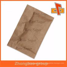 Envase Flexibel papel kraft marrón plegado bolsa de azúcar cruda para el té instantáneo o café