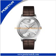 Reloj de señoras encantador del acero inoxidable de la buena moda con la venda de cuero