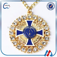 Promotional soft enamel wholesale st benedict medal with ribbon drape