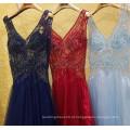 Luxo Brilhante Beaded Sexy V-neck Veja Através de Vestidos de noite 2016 Robe Longue Femme Soiree Vestido de festa formal de alta qualidade ML189