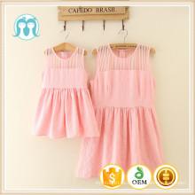 Barato en stock rosa y cremosa vestido de mujer de verano medio al por mayor para niños y mamá