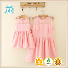 Cheap in stock pink and creamy medium summer woman dress wholesale for kids and mama