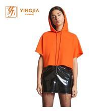 Women Short Sleeve Hoodies Plain Casual Sweatshirt