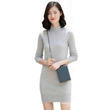 Vestido de punto 100% de cachemira de mujer formal vestido pequeño cuello alto de color sólido sexy mediados de longitud vestidos de suéter