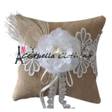Art und Weise Eleganzhochzeit weißes Ringträgerkissen mit Stickereispitze Blumenbrautduschenbevorzugungsdekoration