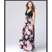 Vestido maxi sin mangas de la flor impresa mujeres occidentales del estilo caliente con las mujeres profundas del vestido del cuello en V profundo