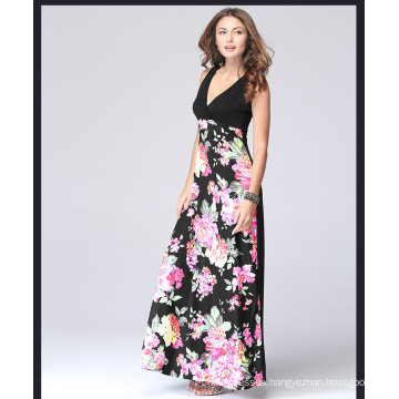 Western style sexy womens printed flower sleeveless long maxi dress with deep V neck long dress women