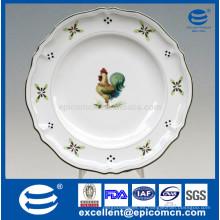 Nuevo hueso china ronda 12 '' plato grande de fruta plana plato platos de torta también para la ensalada