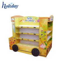 Pantalla en forma de autobús escolar de cartulina personalizada supermercado al por menor de supermercado