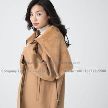 Kvinnor Cashmere Coat With Mink Fur