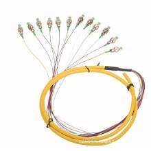 Cordon de raccordement à fibres optiques à haute vitesse 12 core pigtail / fibre optique, cordon de raccordement de fibres extérieures / câble de branchement