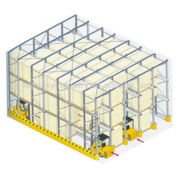 entrepôt de stockage métallique entraînement dans le support de palette
