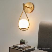 High quality modern wall mount light fixtures living room glass copper led wall light