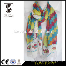 custom service accept 100% polyester scarf colorful voile silk feel scarves