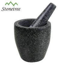 Schwarzer Marmor- / Granitmörser und Stößel für Kräuter und Gewürze, Natursteinmörser und Stößel, Steinkochgeschirr-Küchengeschirr