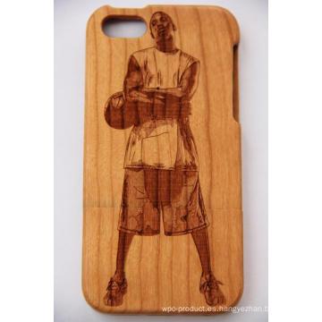 Laser Basket Ball Star Funda móvil de madera