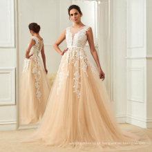 Laço Appliqued Champagne Bridal Vestidos Elegantes Longos Vestidos De Casamento Ao Ar Livre