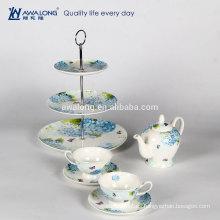 Conjunto de café de diseño liso blanco conjunto de té baja de China de hueso de patrón floral
