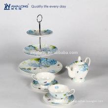 Белый простой дизайн кофе набор цветочный узор кость фарфор низкий чайный сервиз