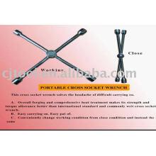 Portable cross socket wrench