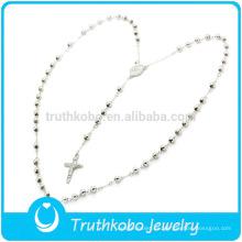 Collar de rosario de 4 mm chapado en oro de acero inoxidable para mujer