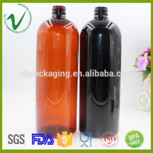 Wholesale eco-friendly refillable boston round 1000ml plastic chemical bottle with screw cap