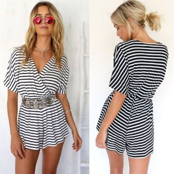 Ladies Stripe Clubwear Combinaison V Neck Combinaison Bodycon Party