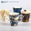 Style naturel Coloré Ceramic Bone Chine Tasses Avec Impression Decal