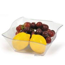"Plastic Bowl 7"" Clear Elegant Wave Serving Bowl"