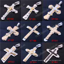 Simple Mens Metal Stainless Steel Cross Cross Black Cross Pendant Necklace Designs (IO-st000000)