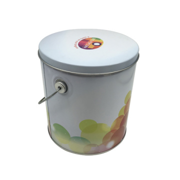 Wholesale Round Shape Handle Tin Box Popcon Box Handly