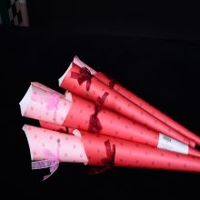 Valentine's tube rose paper packaging with organza rope