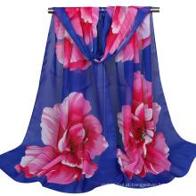 Design personalizado de alta qualidade outono outono inverno flor yiwu bolha chiffon hijab cachecol