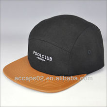 Custom leather brim 5 panel cap with embroidery logo
