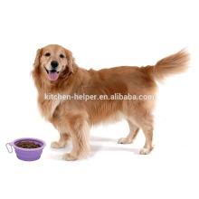 Promocional Diseño Personalizado Calor Resistente Alimenticio Viaje De Silicona Auto Pet Bowl / plegable Pet Dog Cat Bowl