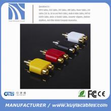 RCA Masculino para 2RCA Female Adapter Connector Y-Splitter Plug Extender Converter