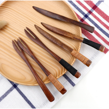 Wooden Knife and Fork Set Dessert Fruit Set