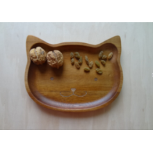 Cat-Shape Natural Wood Plate,