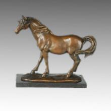 Statue animale Sculpture en bronze à cheval debout, Milo Tpal-246