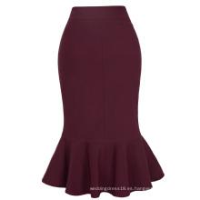 Kate Kasin Occidental Moda Mujer OL Causal Vino rojo sirena Hips-envuelto falda lápiz KK000241-2