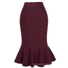 Kate Kasin Occident Women's Fashion OL Causal Wine red Mermaid Hips-Wrapped Pencil Skirt KK000241-2