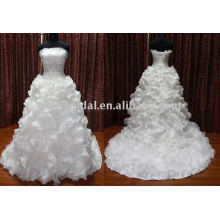 Ruffle Skrit Organza Nice Embroider On Bodice New Stock Dress Wedding Gown2012