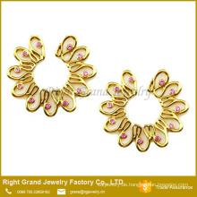 Nicht vergoldete Pierce Blume rosa CZ Schild gefälschte Brustwarze Ring