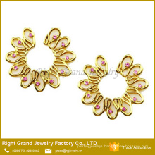Non Pierce Gold Plated Flower Pink CZ Shield Fake Nipple Ring