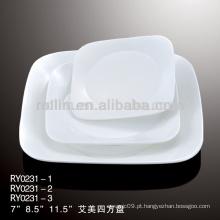 Emmy série hotel e restaurante prato de porcelana branca, louça, louça de porcelana
