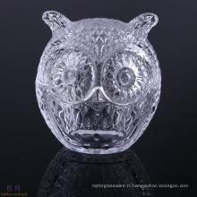 Bougie pot de cuivre chouette forme verre