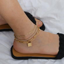 European and American Gold Silver Punk Hip Hop Cuban Chain Rhinestone Lock Pendant Set Fashion Jewellery Anklet Bracelet for Women