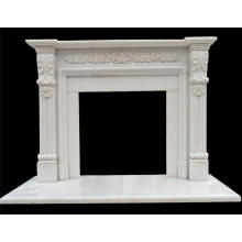 European cultured hand carved beige marble fireplace hearth