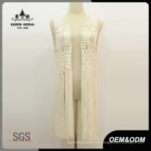 Femmes métallisé perle frange blanc Crochet Cardigan Beachwear